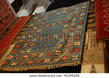 african carpet background detail in morroco - stock photo