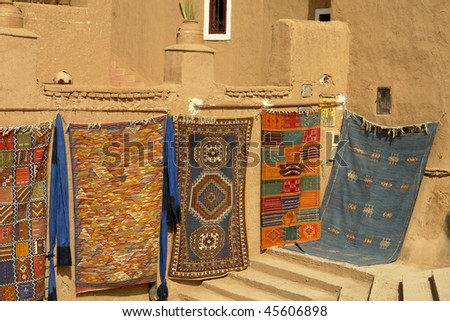 african carpet market detail in a street of morocco - stock photo