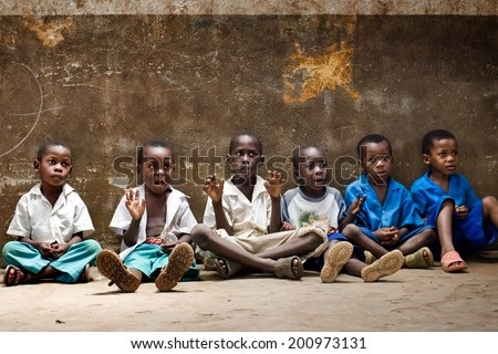 African children in school. Kenya. Mombasa. January 25, 2012 - stock photo