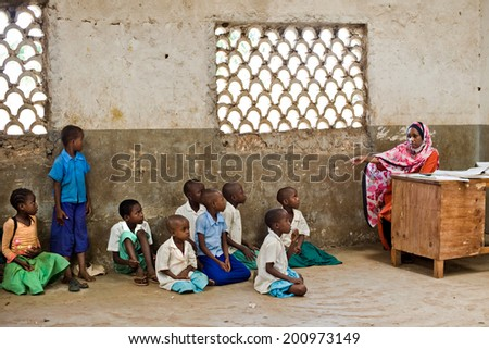 African children in school. Kenya. Mombasa. January 25, 2012 - stock photo