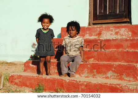 African children playing outside - stock photo