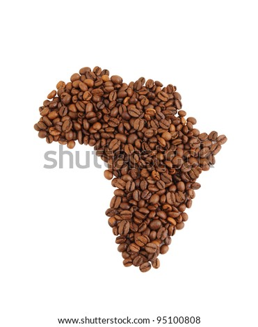 African continent map made from coffee beans isolated on white