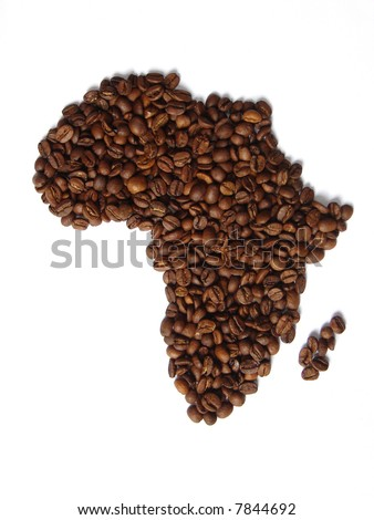 African continent map made from coffee beans. Originally, coffee came from Africa. - stock photo