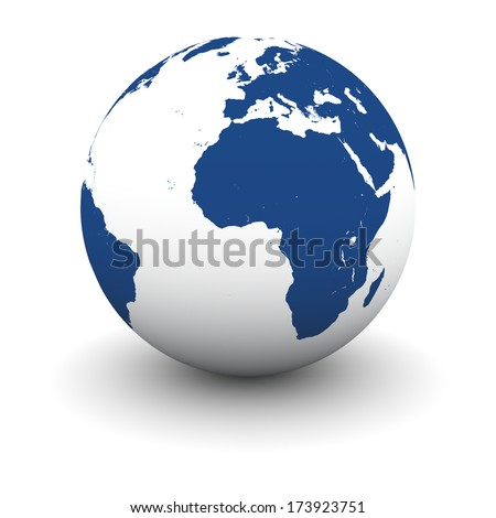 African continent on model of Earth isolated on white background. Elements of this image furnished by NASA - stock photo