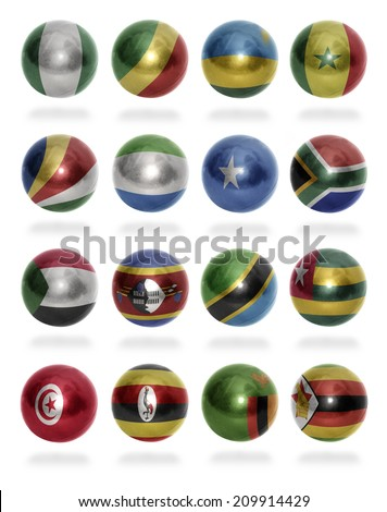 African countries (From N to Z) flag balls on a white background - stock photo