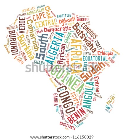 African countries in word collage - stock photo