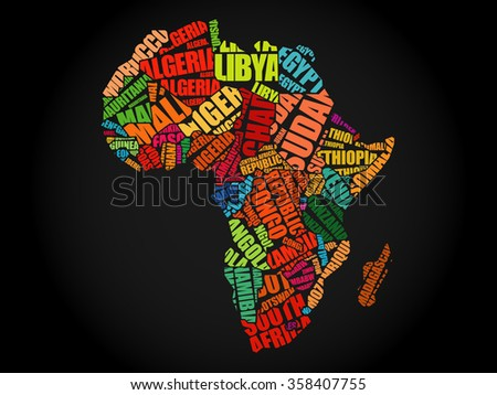 African countries Map in Typography word cloud concept, names of countries - stock photo