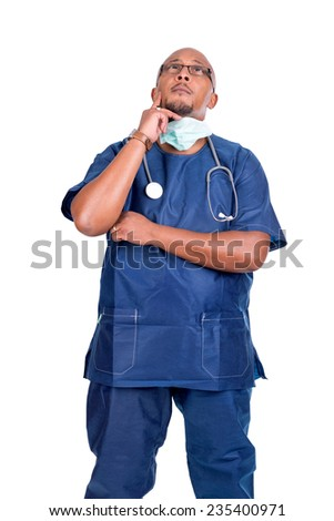 African descendant doctor isolated against a white background - stock photo