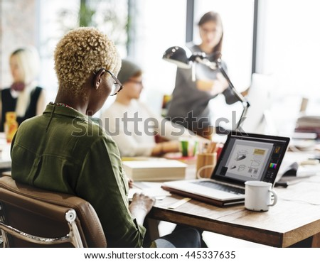 African Descent Design Studio Computer Working Concept - stock photo