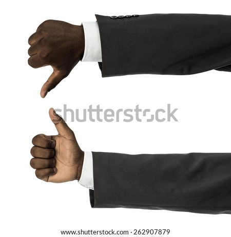 African descent man doing thumbs up and down gesture isolated on white - stock photo
