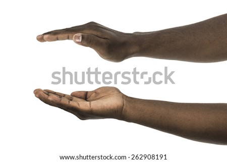 African descent man with palms facing up and down on white background - stock photo