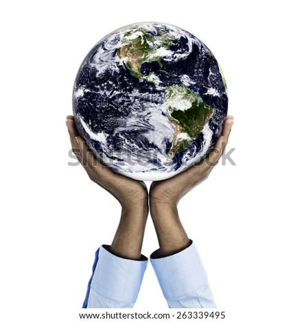 African descent woman holding the world  Altered Composite image Original Earth provided by www.nasa.gov - stock photo