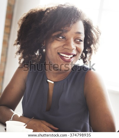 African Descent Woman Smiling Beautiful Concept - stock photo