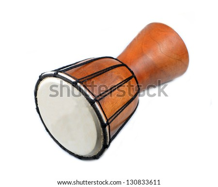 African djembe drum isolated on white background - stock photo