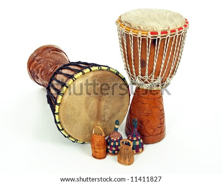 African djembe drums and caxixi shakers. Percussion music instruments. - stock photo