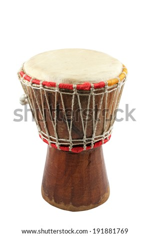 african djembe on white background, traditional percussion instrument - stock photo