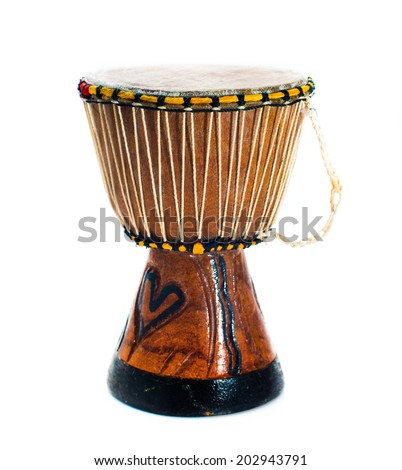 African drum isolated on a white background - stock photo