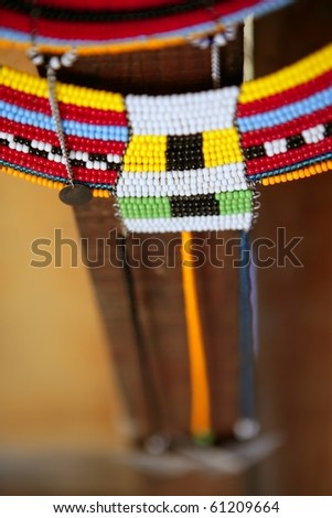 African ethnic colorful jewellery necklaces with selective focus - stock photo