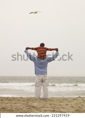 African father holding son on shoulders at beach - stock photo