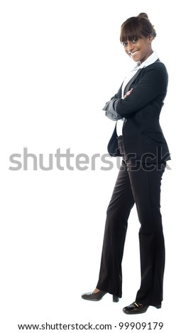 African female manage looking st you. posing against white - stock photo