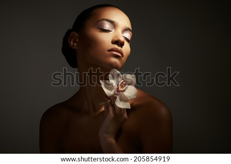 african female woman, pretty sensual portrait, color - stock photo