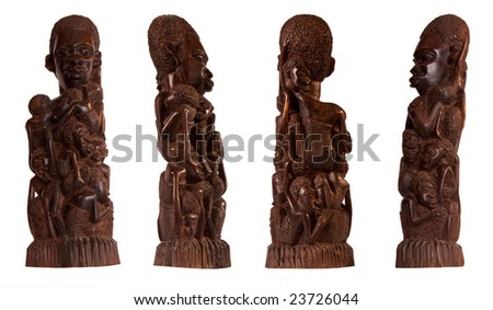 African folk art carved wood mother sculpture shot from four angles isolated on white. - stock photo