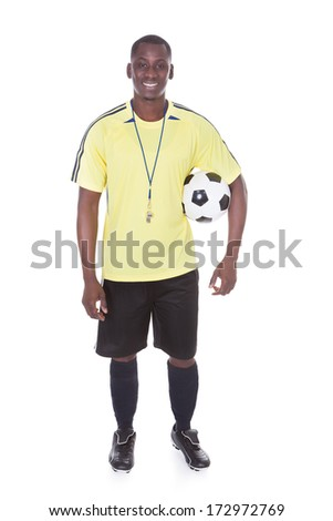African Football Player With A Soccer Ball Over White Background - stock photo