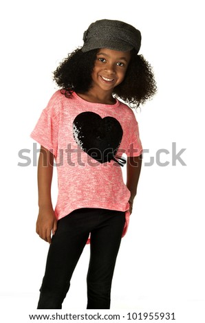 african (20%); girl (20%); american (17%); kid (17%); child (10%) - stock photo
