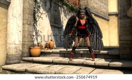 african girl as dark angel at mediterranian scene - stock photo