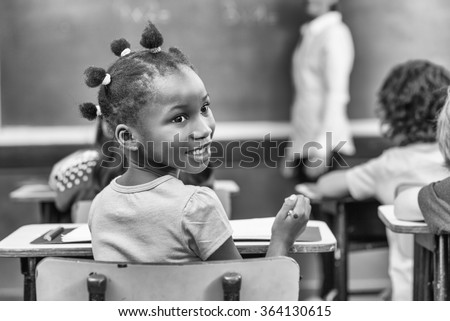 African girl at primary school. - stock photo