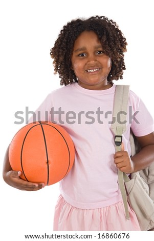 African girl student with basketball and backpack on a white background