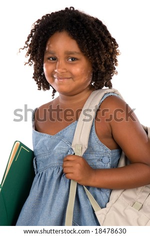 African girl student with folder and backpack on a white background