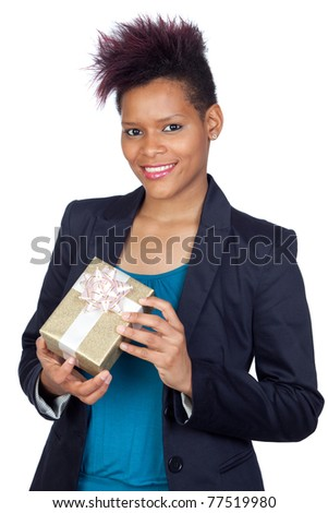 African girl with a present isolated on white background