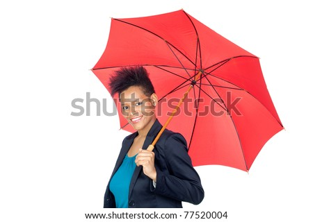 African girl with a umbrella isolated on white background - stock photo