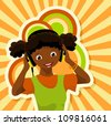 african girl with headphones listening to music - bitmap copy - stock