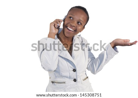 African girl with mobile phone on white background - stock photo