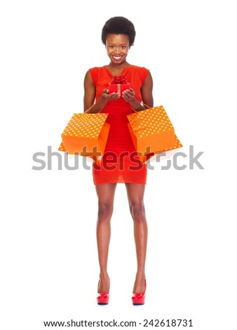 African girl with shopping bags  isolated white background