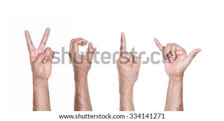 African hand forming number 2016 on white background