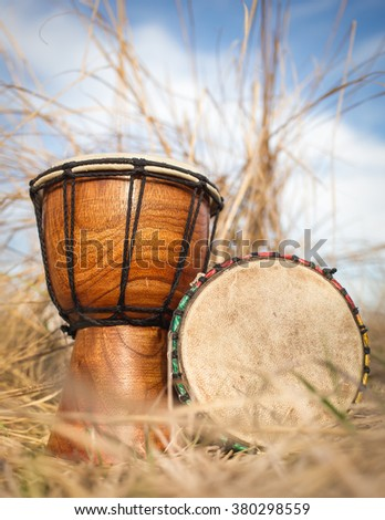 African hand percussion instrument - Djembe drums - stock photo