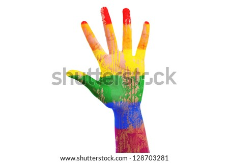 African hand with a painted lgbt flag, isolated on white background - stock photo