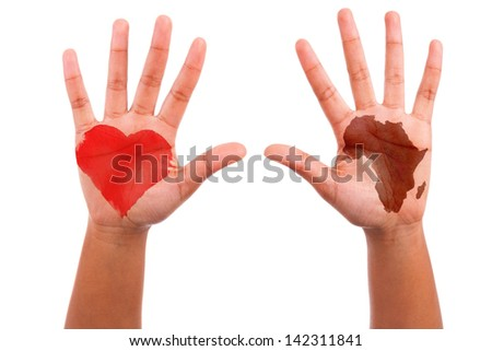 African hands with a painted heart and the african continent shape, i love africa concept, isolated on white background - stock photo