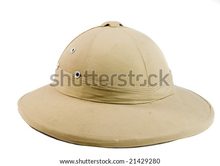 African hunter hat on white ground - stock photo
