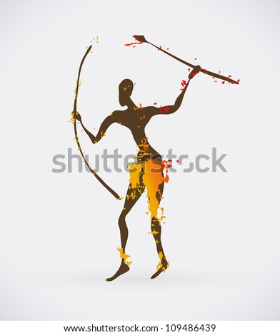 African Hunter Tribal Illustration. Traditional Culture Creative Symbol.