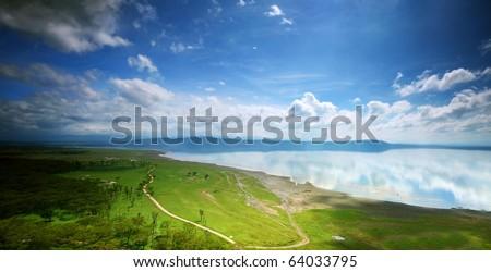 African landscape, bird's-eye view on lake Nakuru, Kenya - stock photo