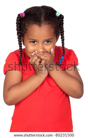 African little girl covering the mouth isolated on a over white - stock photo