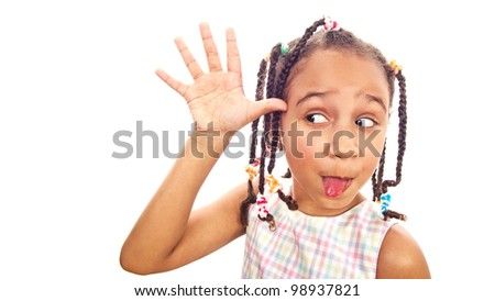 African little girl in shades sticking out her tongue-collection - stock photo