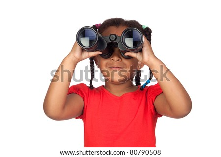 African little girl looking through binoculars isolated on a over white - stock photo