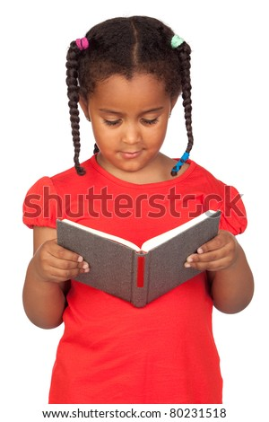 African little girl reading a book isolated on a over white - stock photo