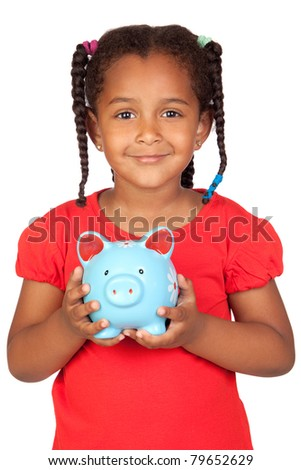 African little girl with a blue piggy-bank isolated on a over white - stock photo