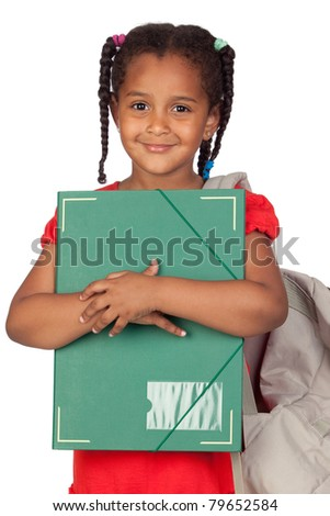 African little girl with a folder and backpack isolated on a over white - stock photo